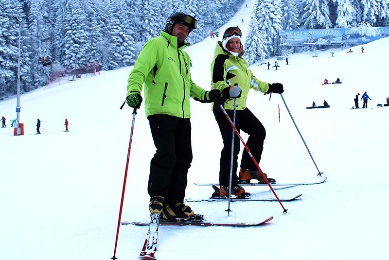 Standard skis + poles